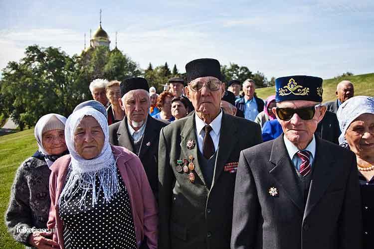 Reportagefotografie, groep veteranen uit Rusland; foto gemaakt door fotograaf Feike Faase