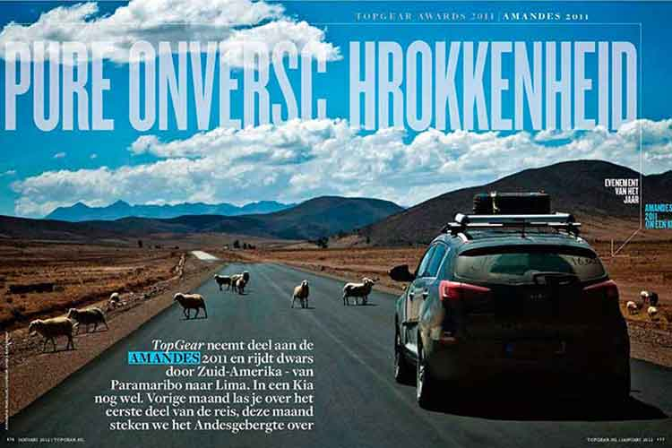 Spread magazine Top Gear; foto gemaakt door Feike Faase